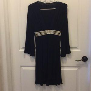 Elegant Black Dress with Rhinestones